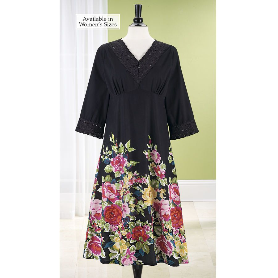 Black Floral Dress - Stylish Home Accents and Décor - Graceful Clothing, Accessories & Jewelry