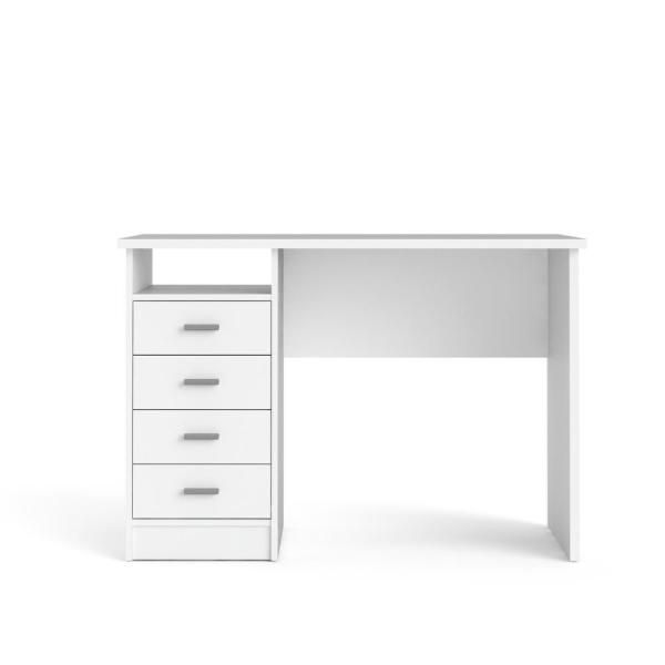 Tvilum 44 In Rectangular White 4 Drawer Writing Desk With Built In Storage 8014649 The Home Dep In 2020 White Desk Bedroom White Desk With Drawers Simple White Desk