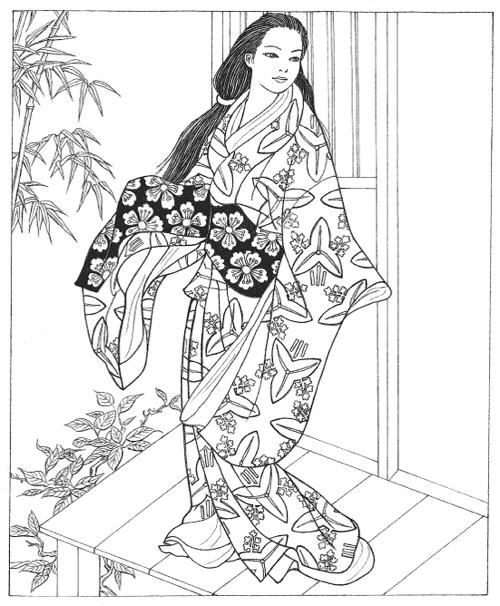 Japanese Coloring Book Pages. People everywhere are entranced by Japanese art  and with good reason Here the very best coloring books for adults Coloring Books Adults Kimonos