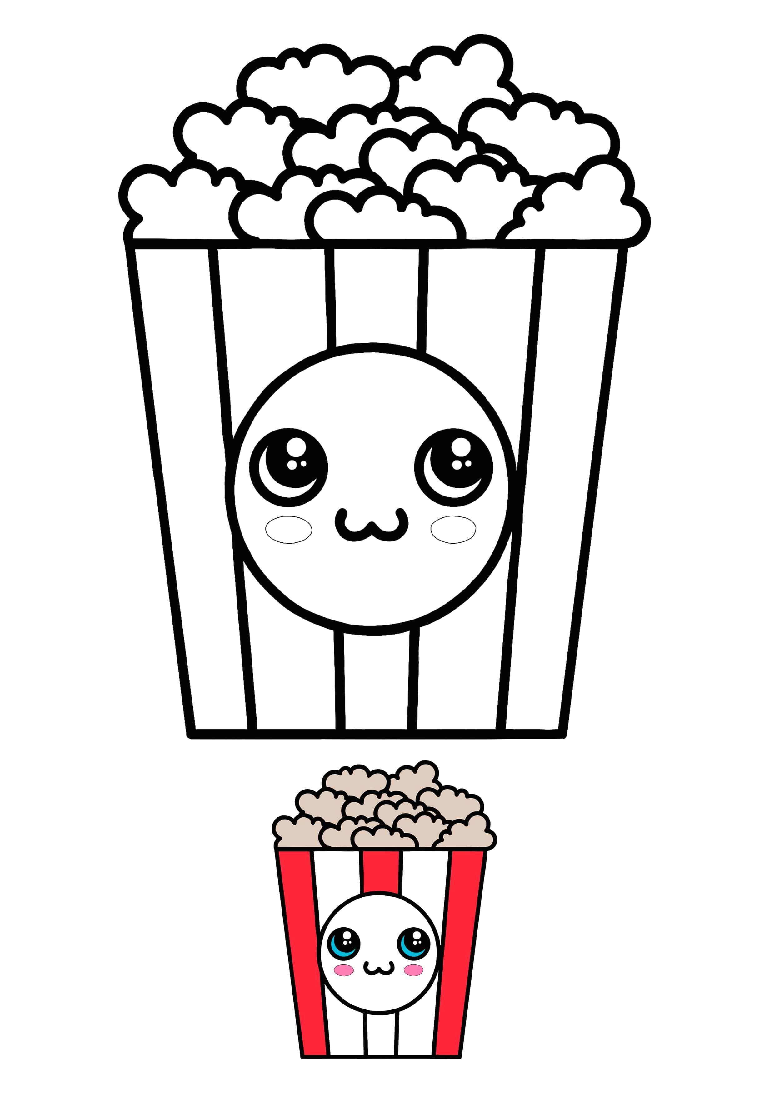 Popcorn Colouring Pages : popcorn, colouring, pages, Kawaii, Popcorn, Coloring, Sheet, Pages,, Colored, Popcorn,, Printable