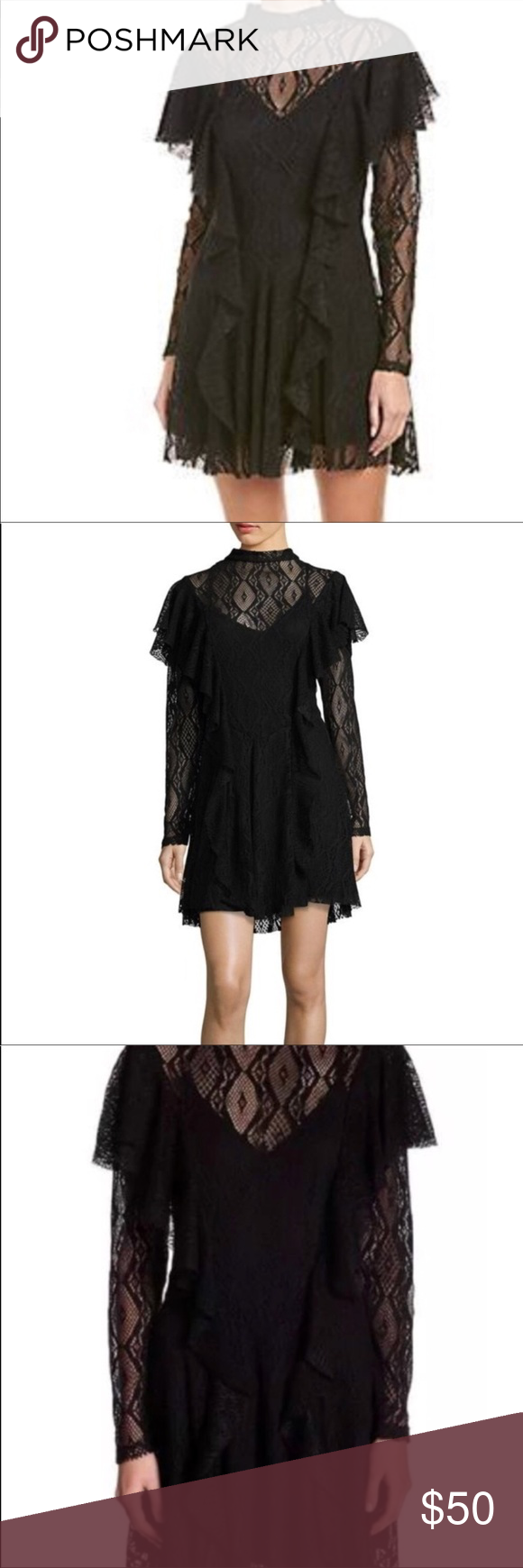 Nwt Free People Rock Candy Lace Black Party Dress Black Party Dresses Lace Dress Black Dresses [ 1740 x 580 Pixel ]