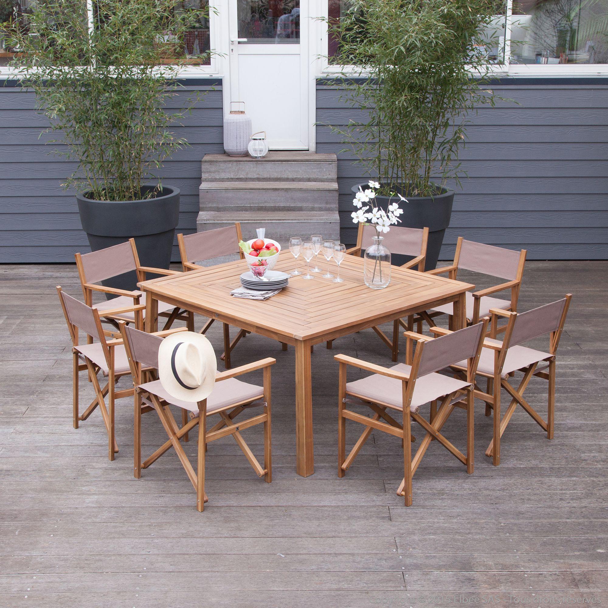 Salon de jardin 8 places : 1 table carré en acacia + 8 ...