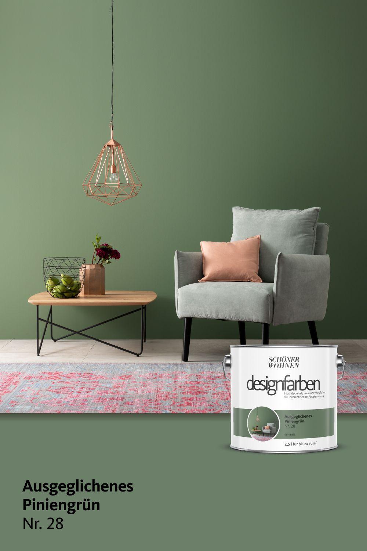 Designfarbe Ausgeglichenes Piniengrün Nr 28 Schöner Wohnen Wandfarbe Wandfarbe Grün Wohnzimmer Farbe
