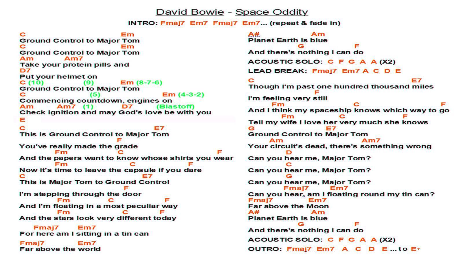 David Bowie   Space Oddity WS   David bowie space oddity, Guitar ...