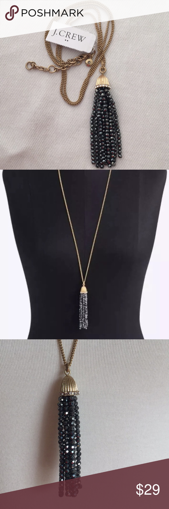 Nwt jcrew beaded tassel drop pendant necklace nwt