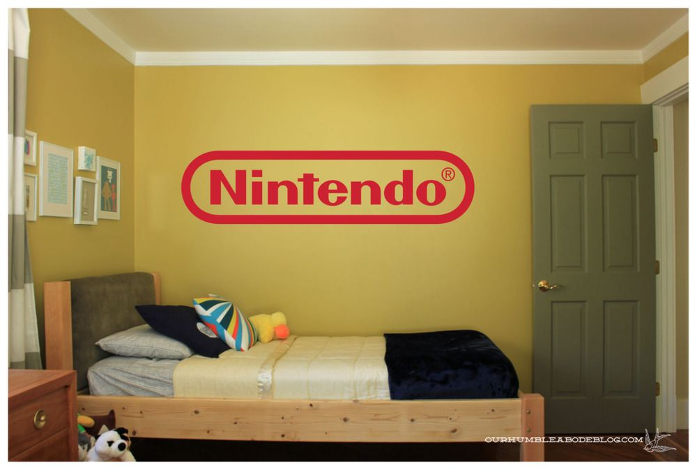 nintendo logo large wall vinyl art decal 36x8 bedroom on wall logo decal id=47806