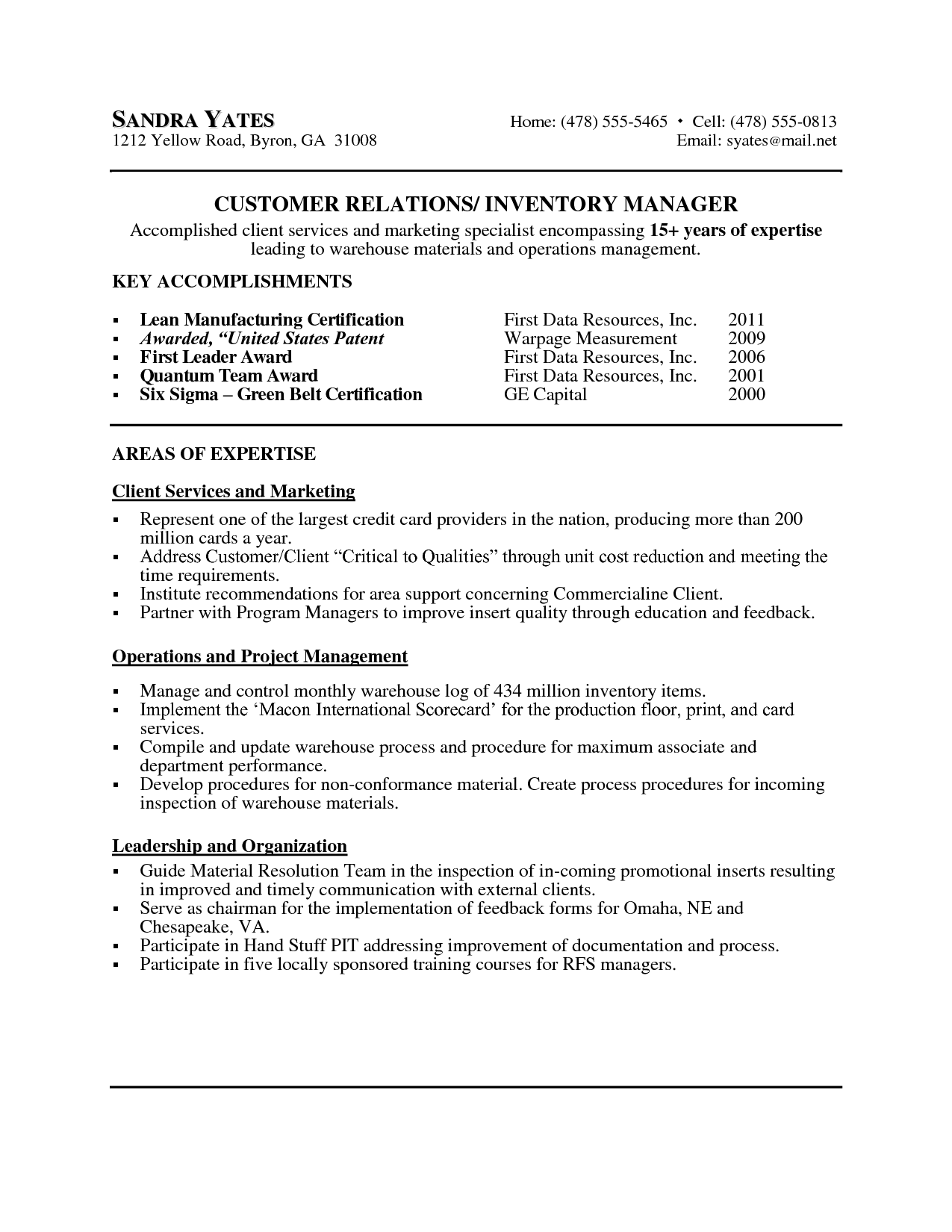 Warehouse Resume Template - http://www.resumecareer.info/warehouse ...