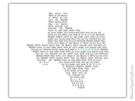 image relating to Fight Song Lyrics Printable named Baylor College or university Overcome Tune Print Baylor within just Your Residence
