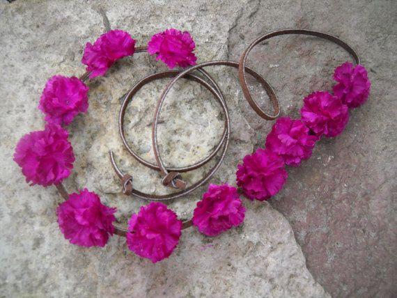 Coachella flower crown halo deep purple flowers with by triolette, $7.99