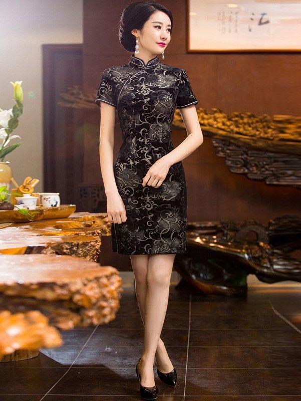 Short Black Floral Velour Qipao / Cheongsam Dress