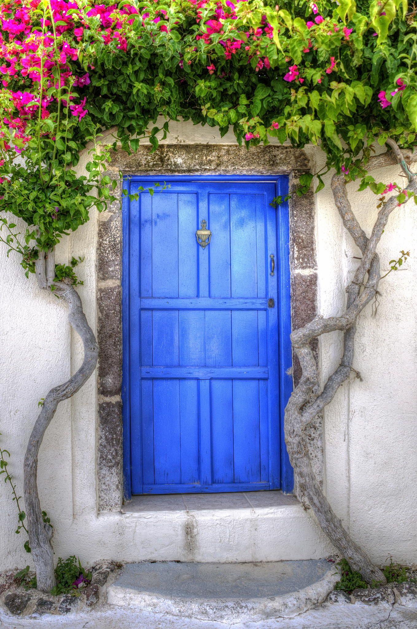 Blue Door in Santorini, Greece