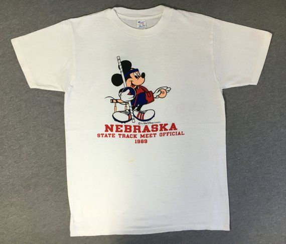 eb6de21a5 MICKEY MOUSE Shirt 1989 Vintage/ 80s CHAMPION Walt Disney Track Star  Nebraska T-shirt/ State Meet Us