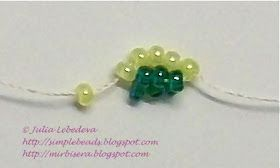 Beading for the very beginners: A bracelet of beaded spiral rope in green colors