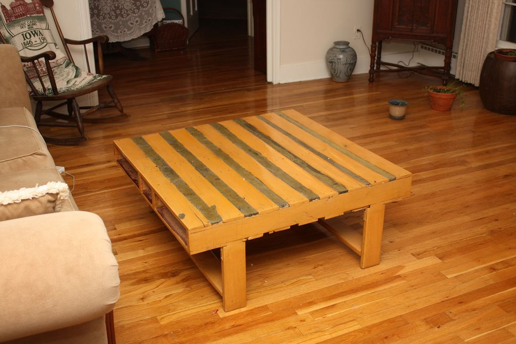 https://flic.kr/p/7yWP6j | Pallet Wood Table | My mostly finished pallet wood table, and no, it doesn't really stay in that room.  -----------------------  In November 2008 I saw an article on converting a wooden shipping pallet into a coffee table. I liked the idea, so I made it. If you want to know how I made it you can read about it on my site