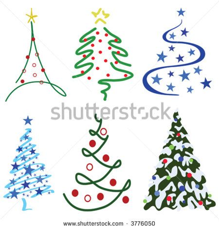 Christmas Tree Design Set Six Tree Designs In Set Christmas Tree Design Diy Christmas Cards Christmas Doodles