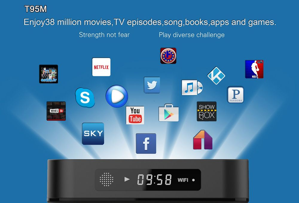 T95M Android 5.1 OS 4K HD TV Box 1G RAM 8G ROM US Plug