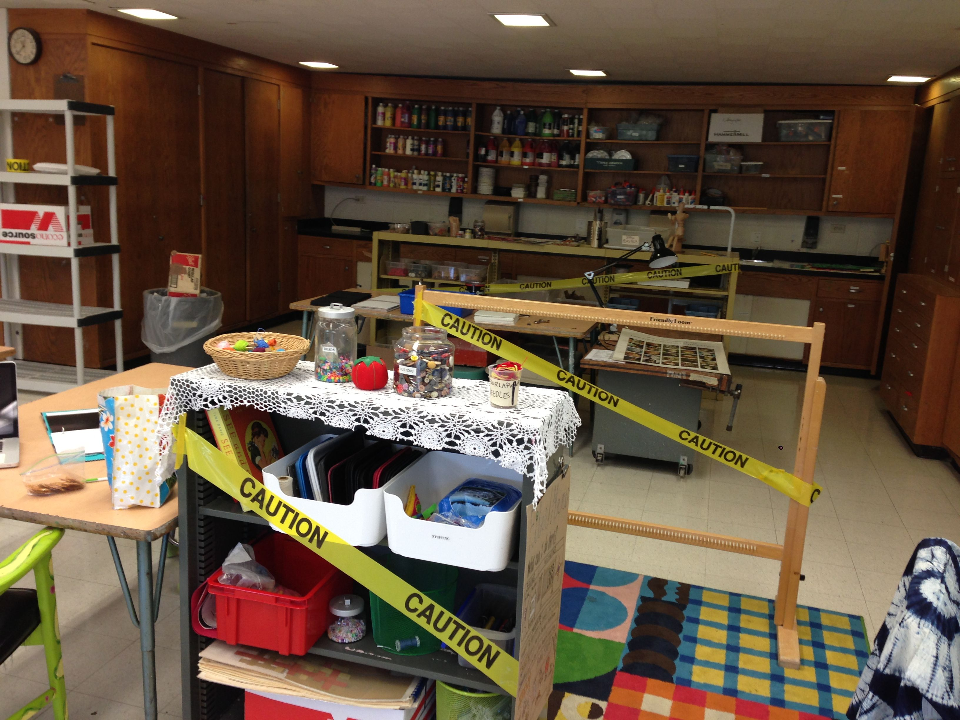 caution tape to mark studio centers that are not yet open