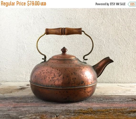 ON SALE Farmhouse Copper Tea Kettle Rustic by HoneyBeeHillVintage