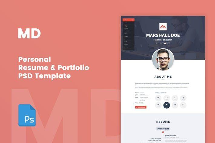 MD Resume  Portfolio PSD Template #portfolio #theme \u2022 Download here