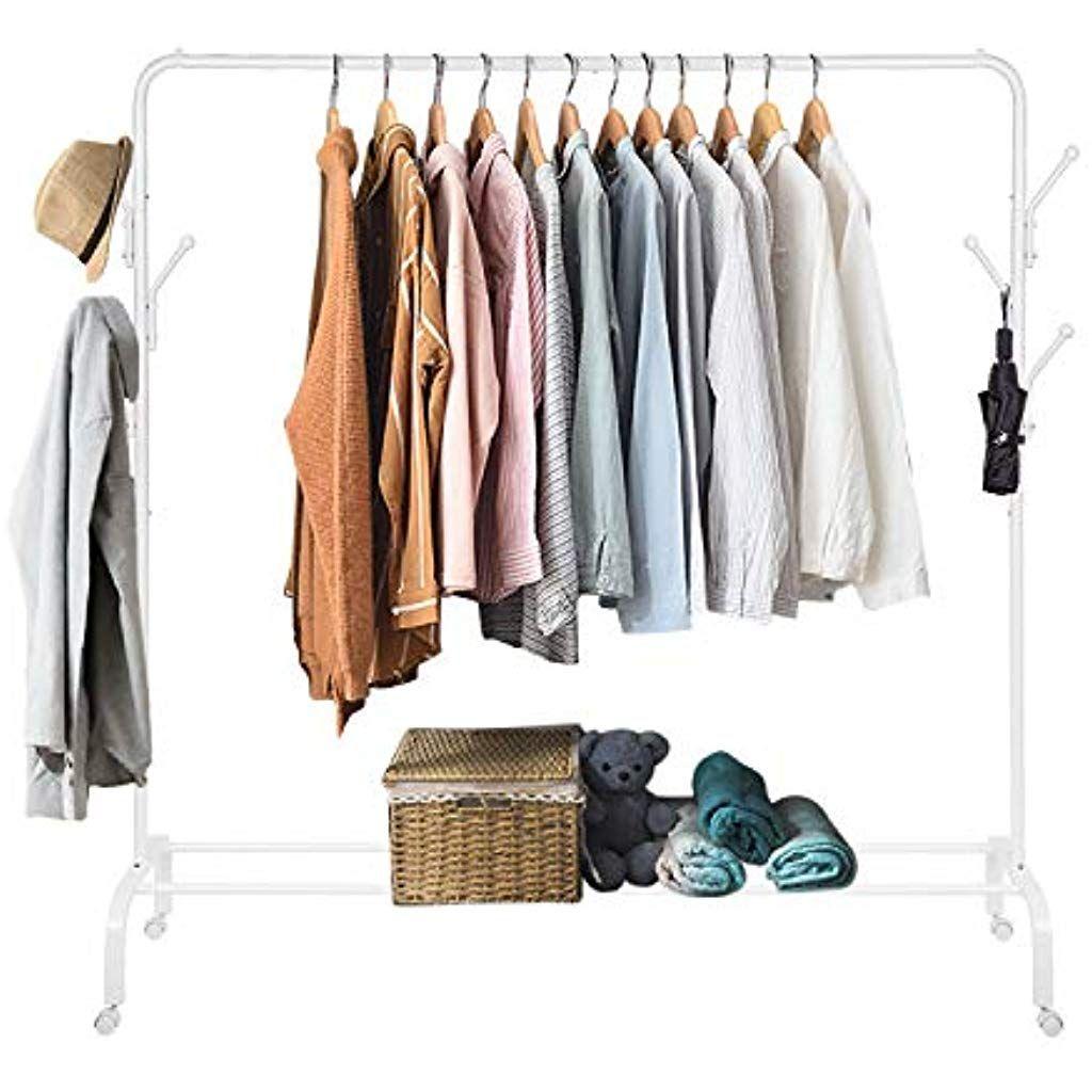 Pour Accrocher Les Vetements amzdeal portant penderie à vêtement mobile portemanteau