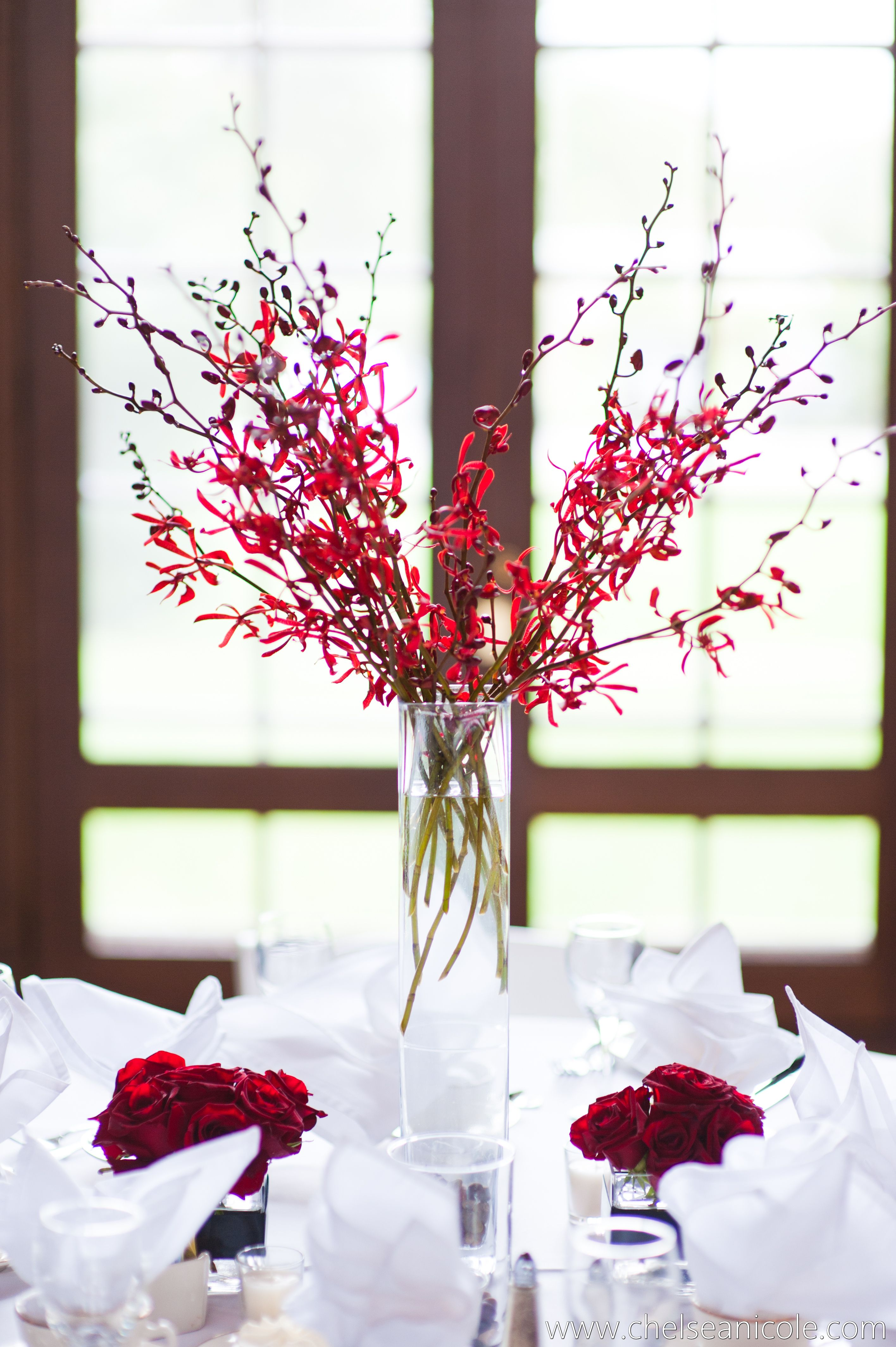 Labellum wedding centerpiece red orchids designed by