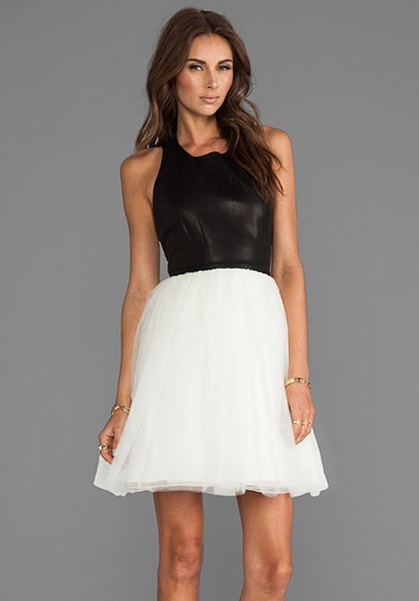 Alice Olivia Ginnifer Leather Top T Back Party Dress In Black