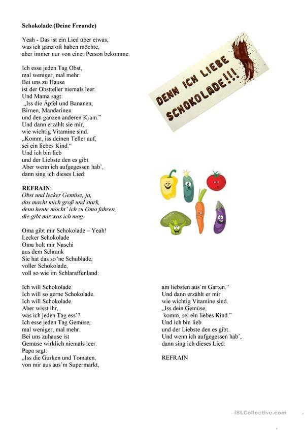 Schokolade - ein Songtext zum Plural | Songtexte, Schokolade und ...