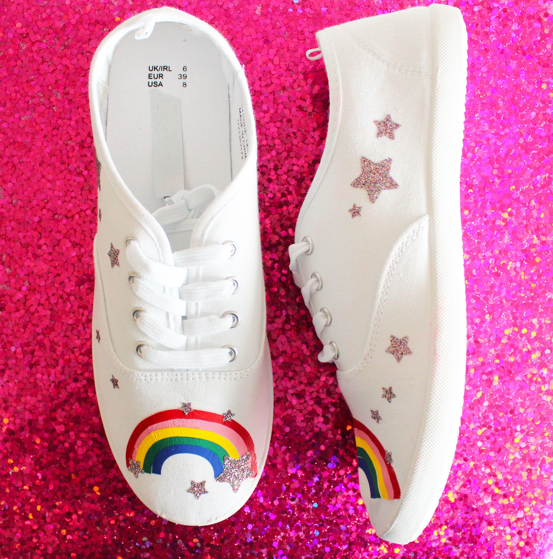 Diy rainbow trainers cricut white canvas shoes