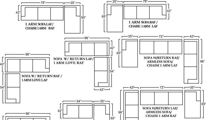 Sectional Sofas Sizes Houston Sofa Schematic Chaise