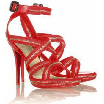 Cheap Rodita Zip 120mm Red Christian Louboutin Sandals on sale - $115.66