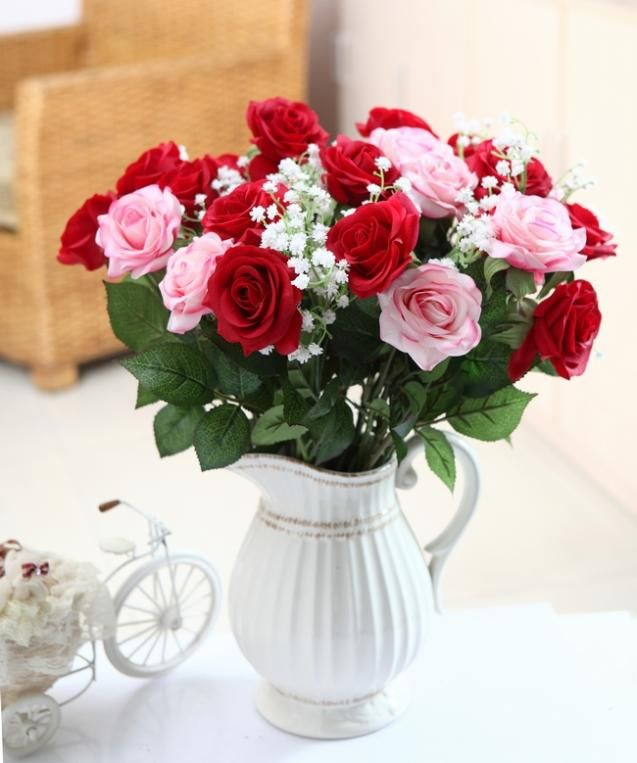 Fresh Rose Artificial Flowers Real Touch Home Decorations For Wedding Party Or Birthday