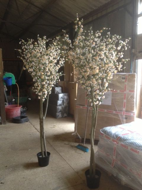 2 1m High Artificial Cherry Blossom Trees In White Made Bespoke To Order For A Custome Artificial Cherry Blossom Tree White Cherry Blossom Cherry Blossom Tree