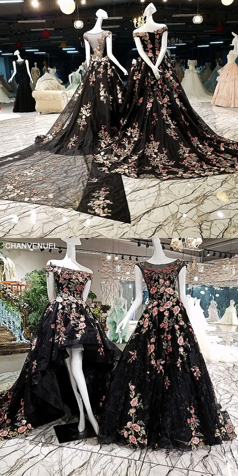Ls black long dresses evening a line appliqued flowers see
