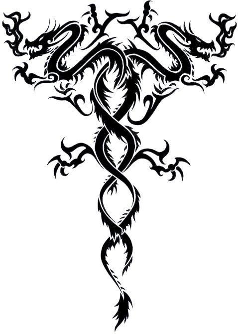 Twin Dragons By Secondtimearound On Deviantart Tribal Dragon Tattoos Tribal Dragon Tattoo Small Dragon Tattoos