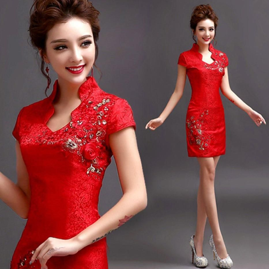 Evening prom dress wedding bridesmaid dress short cheongsam skirt