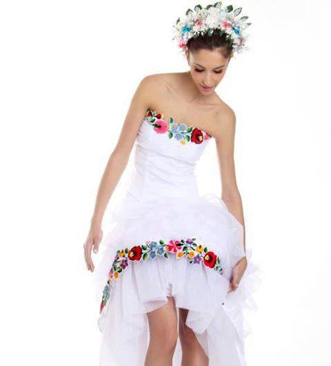 hungarian kalocsai embroidered wedding dress - hungarian folk ...