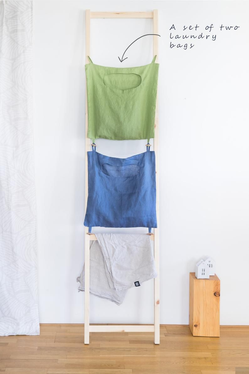 Hanging Laundry Bag Color Coded Linen Laundry Bag Laundry Room