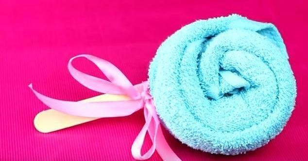 Aprende a doblar una toalla en forma de caramelo