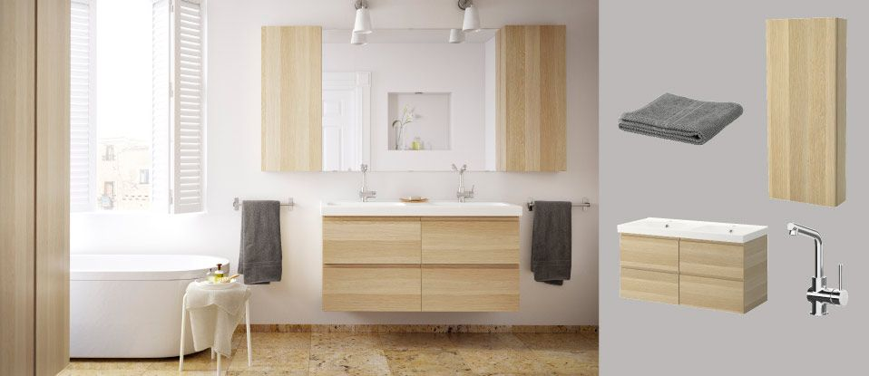 GODMORGON/ODENSVIK wash-stand with four drawers and GODMORGON wall ...