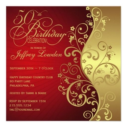 Red Gold 50th Birthday Party Invitation Zazzle Com 80th