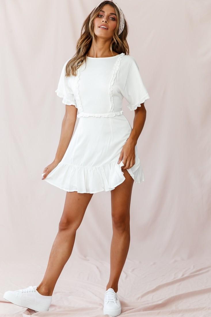 Thursday Ruffle Detail Lace Up Back Dress White Lace Up Back Dress White Dresses Graduation White Dress [ 1100 x 733 Pixel ]