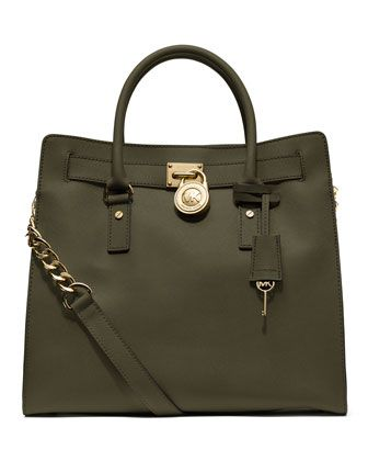ae1e4077adf4 LOVE this style of MK and feeling the military green this fall. Olive green  Michael Kors tote ...