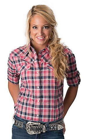 fed8b0b8d Wrangler® Women's Navy, Pink & White Plaid with Gold Lurex Long Sleeve Western  Shirt | Cavender's