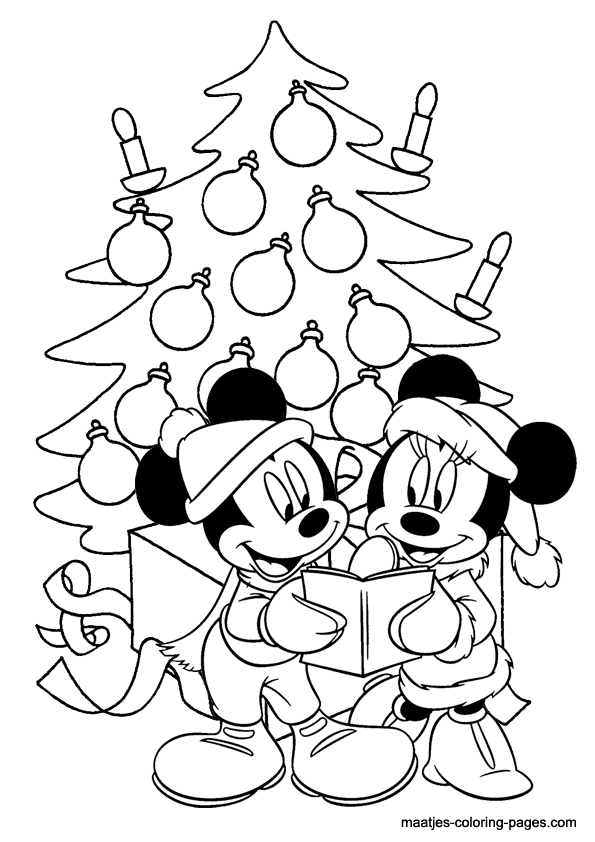 mickey christmas coloring pages Mickey and Minnie Mouse singing under the christmas tree  mickey christmas coloring pages