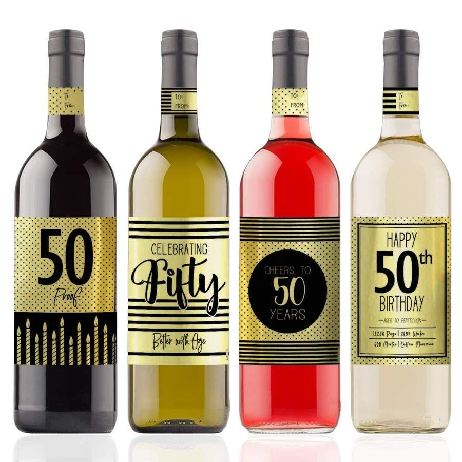 Black and Gold 50th Birthday Metallic Foil Wine Bottle Labels, 4 Count #50thbirthdaypartydecorations