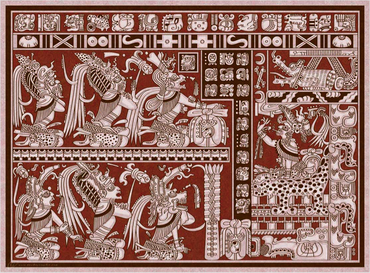 Six Cross-legged Lords Of Xibalba Meet With The Jaguar God