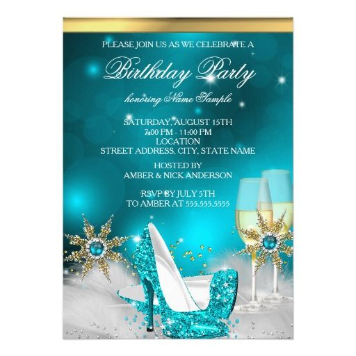 Gold High Heel Bridesmaid Name Champagne Party Wedding: Teal Blue High Heel Shoes Silver Gold Champagne Invitation