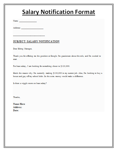 salary notification template  just like the name indicates  is a letter issued to notify any