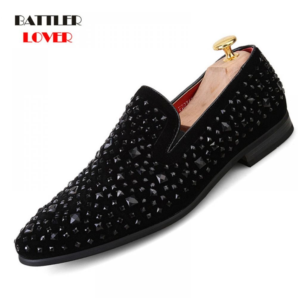 Mens Loafers Luxury Shoes Black Spikes Fashion Brand Denim Metal Sequins Casual Men Shoes Men Dress Bussiness Shoes Oxford Loafers Men Spikes Fashion Luxury Shoes [ 1000 x 1000 Pixel ]
