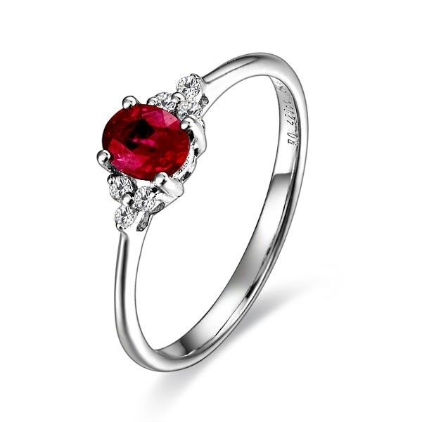 Ruby and Diamond Engagement Ring on 10k White Gold Ruby Rings